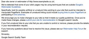 Webmaster Guidelines email